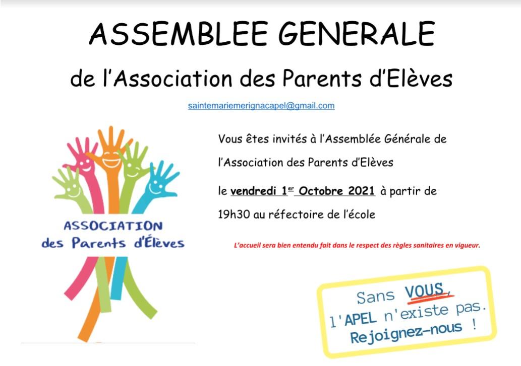Assemblée Générale @ Réfectoire Ecole Sainte Marie