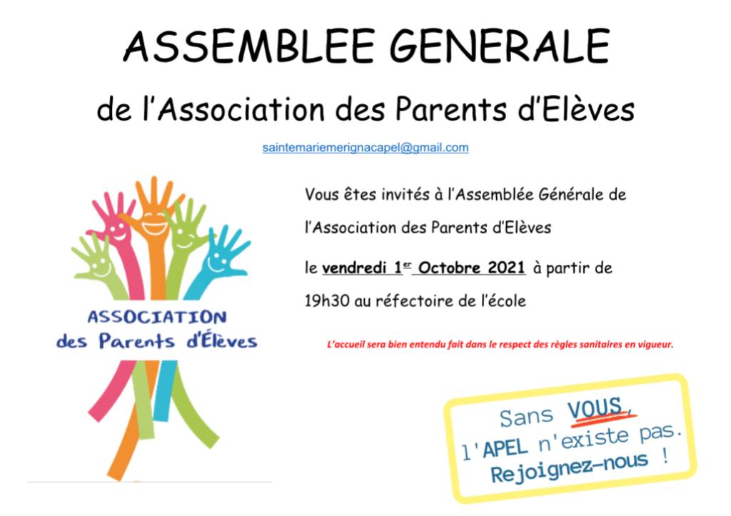 Assemblée Générale vendredi 1 Octobre 2021  19h30 au réfectoire de l'école  Sans VOUS l'APEL n'existe pas rejoignez-nous !